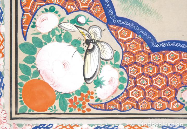 Arte: Gouache sobre papel Escena oriental Dinastia Qing China siglo XIX Interior caja de mantón de Manila - Foto 3 - 234770580