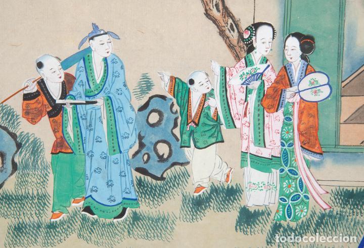 Arte: Gouache sobre papel Escena oriental Dinastia Qing China siglo XIX Interior caja de mantón de Manila - Foto 4 - 234770580