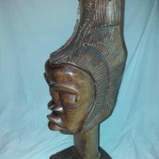 Arte: ESPLÉNDIDO GRAN BUSTO AFRICANO PELO ALTO TALLA DE MADERA ÉBANO ROJO CON BELLOS DETALLES 79CM. Lote 235344320