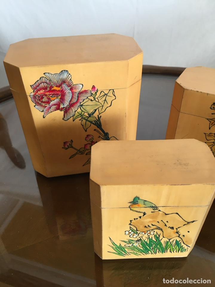 Arte: 3 cajas chinas de bambú - Foto 5 - 235360810