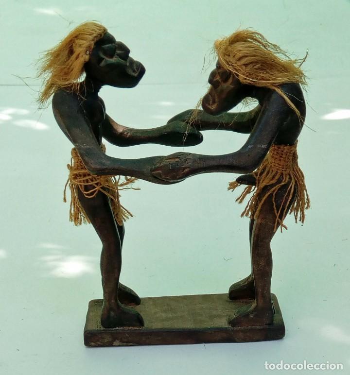 ESCULTURA TALLA DE MADERA REALIZADA A MANO ÉTNICA AFRICANA PAREJA ERÓTICA (Arte - Étnico - África)