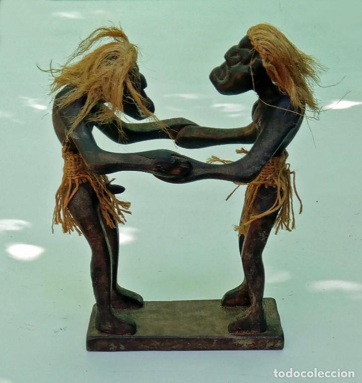 Arte: Escultura talla de madera realizada a mano étnica africana pareja erótica - Foto 2 - 236170115