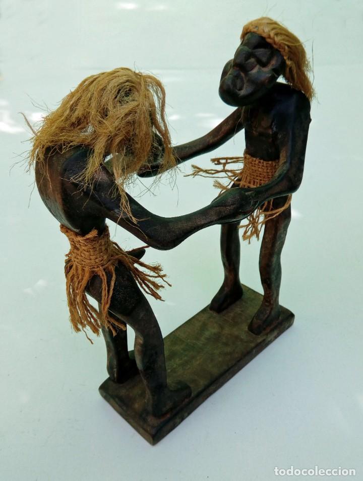 Arte: Escultura talla de madera realizada a mano étnica africana pareja erótica - Foto 3 - 236170115