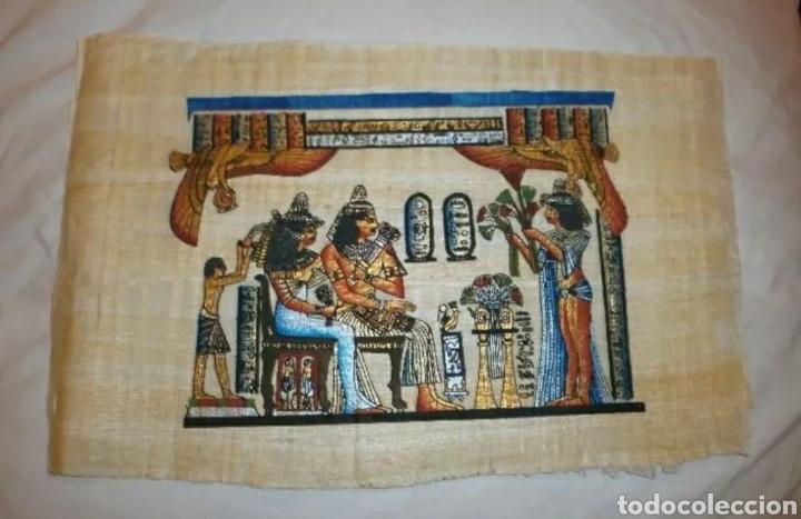 PAPIRO EGIPCIO ORIGINAL PINTADO A MANO . (Arte - Étnico - África)