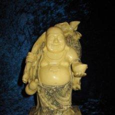 Arte: FIGURA BUDA BHUDA BUDHA HOTEI DE LA SUERTE FORTUNA COLOR MARFIL ABUNDANTES DETALLES. Lote 237458710