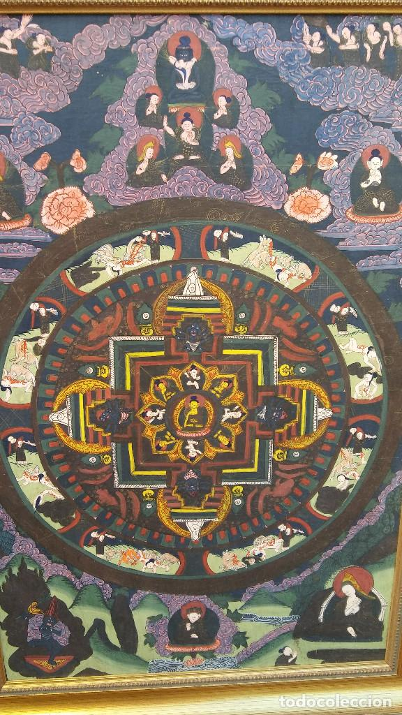 Arte: GRAN Y ANTIGUO MANDALA, THANGKA TIBETANO, PINTADO A MANO, ENMARCADO, SACRIFICIOS HUMANOS. 59 X 83 CM - Foto 3 - 237648595