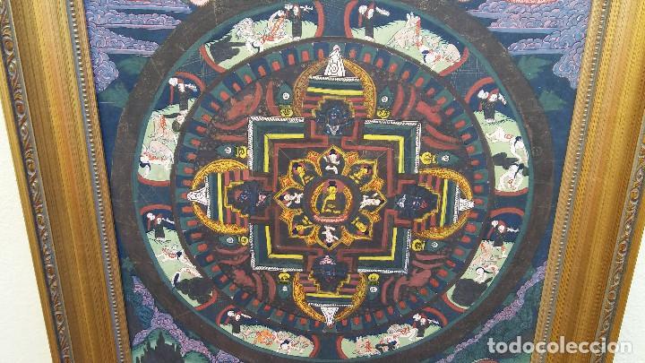 Arte: GRAN Y ANTIGUO MANDALA, THANGKA TIBETANO, PINTADO A MANO, ENMARCADO, SACRIFICIOS HUMANOS. 59 X 83 CM - Foto 5 - 237648595