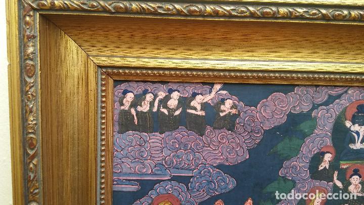 Arte: GRAN Y ANTIGUO MANDALA, THANGKA TIBETANO, PINTADO A MANO, ENMARCADO, SACRIFICIOS HUMANOS. 59 X 83 CM - Foto 11 - 237648595