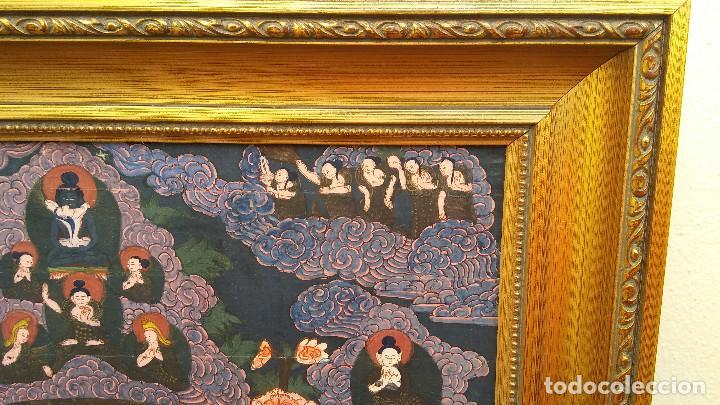 Arte: GRAN Y ANTIGUO MANDALA, THANGKA TIBETANO, PINTADO A MANO, ENMARCADO, SACRIFICIOS HUMANOS. 59 X 83 CM - Foto 13 - 237648595