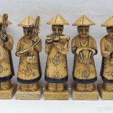 Arte: BELLO GRUPO DE MÚSICOS ANTIGUOS CHINOS EN PIEDRA TALLADOS Y DECORADOS A MANO .. Lote 238298965