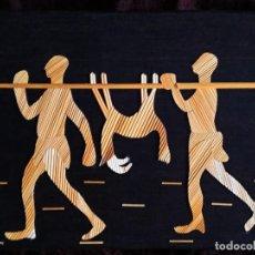 Arte: ARTE AFRICANO / COLLAGE / * DOS CAZADORES TRANSPORTANTO LA PRESA *. ANÓNIMO. (S. XX).. Lote 239432935