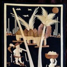 Arte: ARTE AFRICANO / COLLAGE / * ESCENA CON DOS PERSONAS TRABAJANDO EN UN POBLADO *. ANÓNIMO. (S. XX).. Lote 239436545
