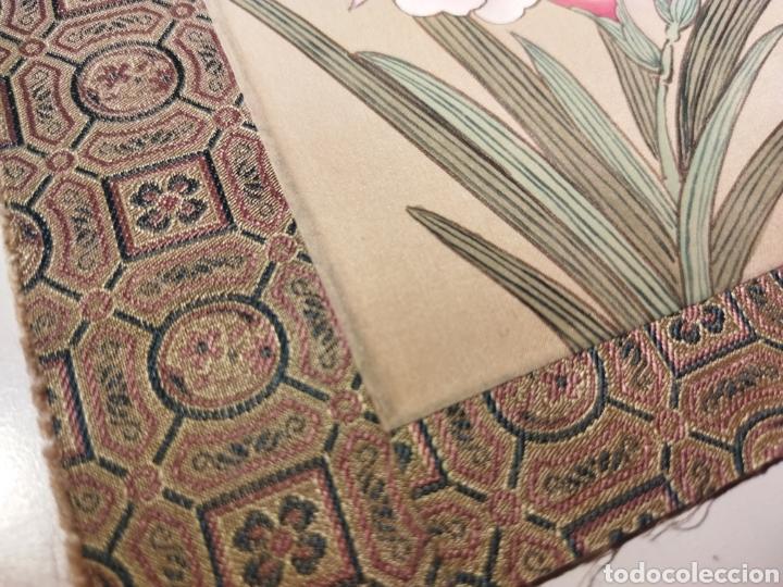 Arte: Antigua pintura china pintada a mano y enmarcada en seda - Foto 3 - 239510845