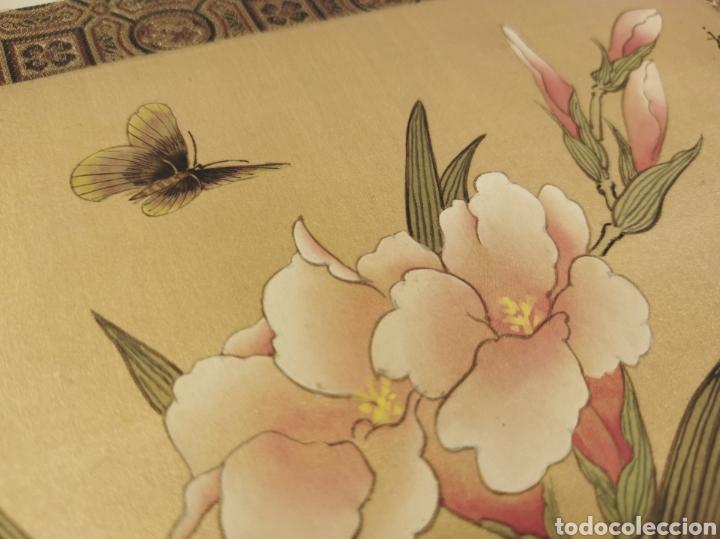 Arte: Antigua pintura china pintada a mano y enmarcada en seda - Foto 5 - 239510845
