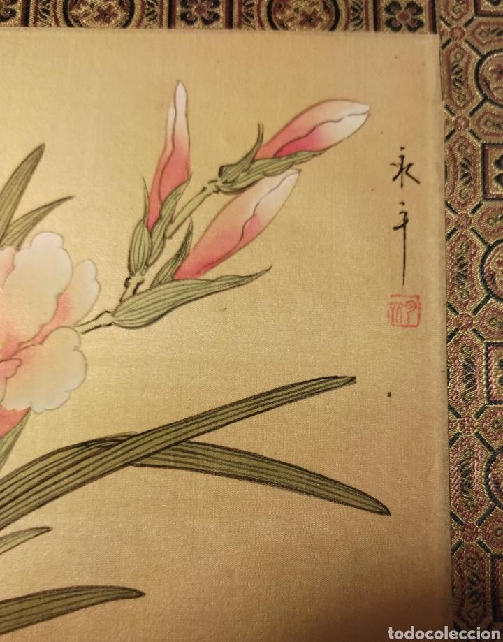 Arte: Antigua pintura china pintada a mano y enmarcada en seda - Foto 6 - 239510845