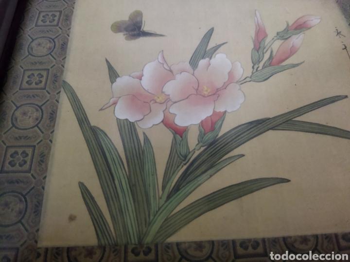 Arte: Antigua pintura china pintada a mano y enmarcada en seda - Foto 7 - 239510845