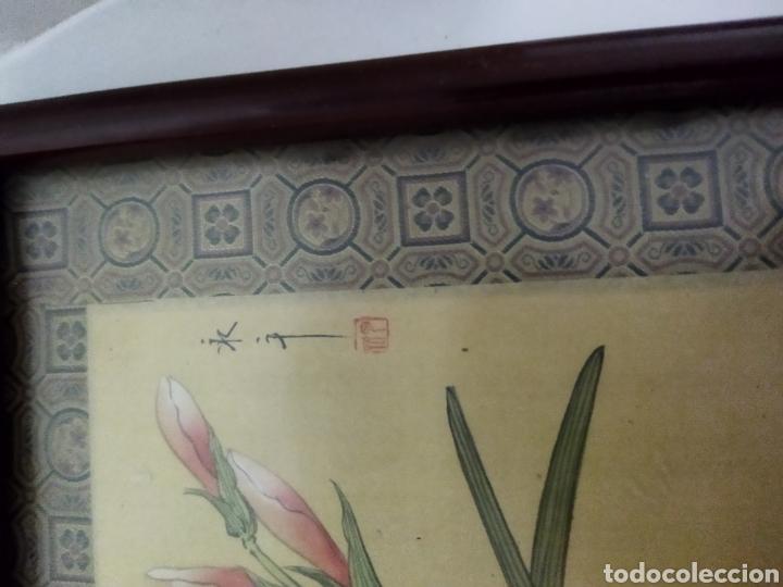 Arte: Antigua pintura china pintada a mano y enmarcada en seda - Foto 8 - 239510845