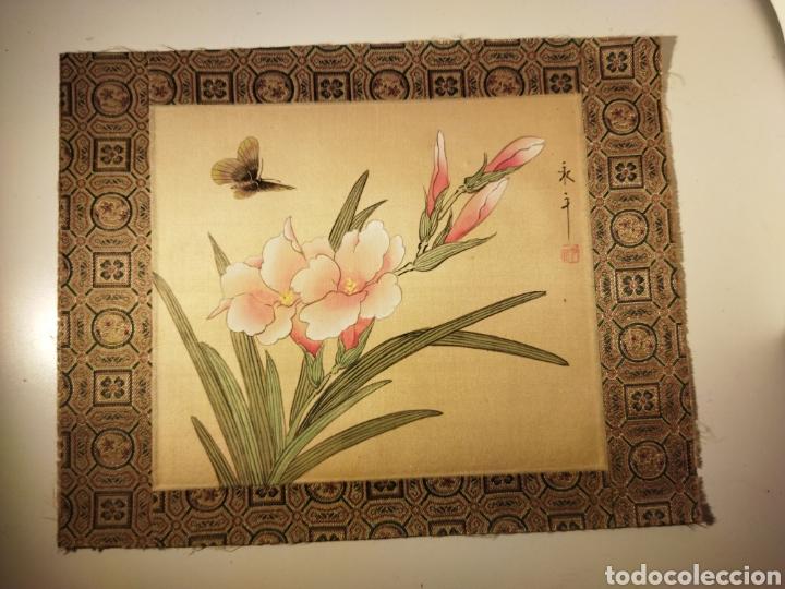 Arte: Antigua pintura china pintada a mano y enmarcada en seda - Foto 9 - 239510845
