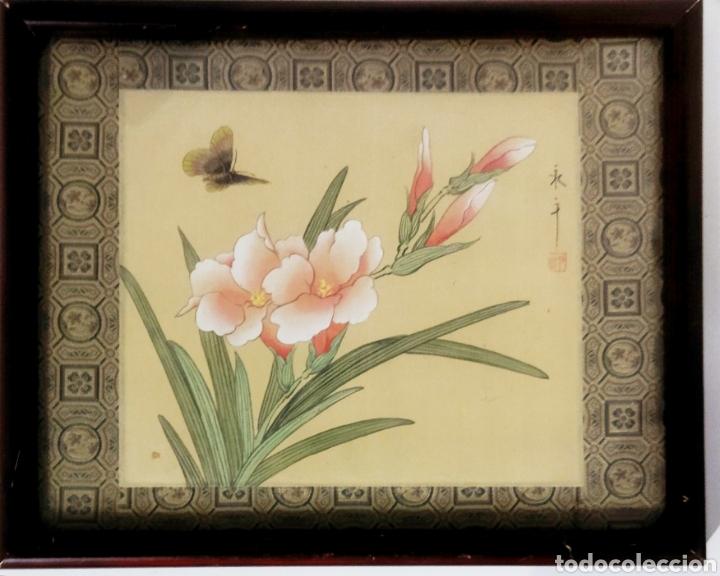 Arte: Antigua pintura china pintada a mano y enmarcada en seda - Foto 10 - 239510845