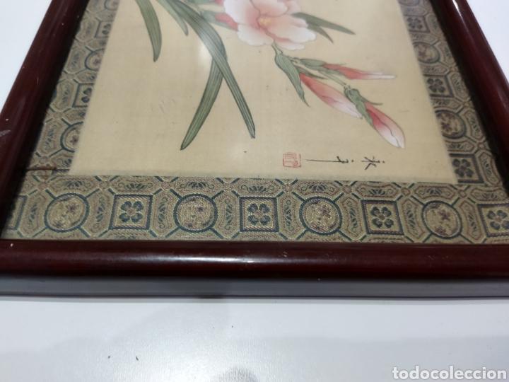 Arte: Antigua pintura china pintada a mano y enmarcada en seda - Foto 11 - 239510845