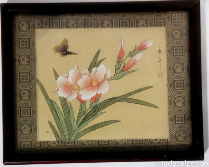 ANTIGUA PINTURA CHINA PINTADA A MANO Y ENMARCADA EN SEDA (Arte - Étnico - Asia)