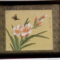 Arte: ANTIGUA PINTURA CHINA PINTADA A MANO Y ENMARCADA EN SEDA. Lote 239510845