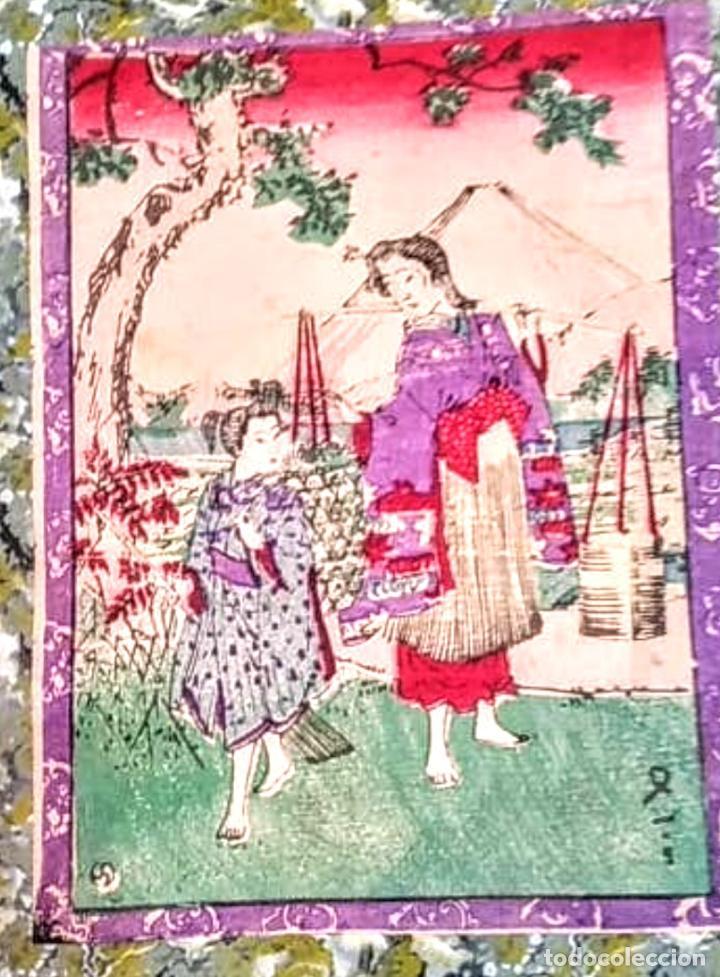 GRABADO JAPÓN DEL SIGLO 18-19 GRABADO EN PAPEL DE ARROZ (Arte - Étnico - Asia)