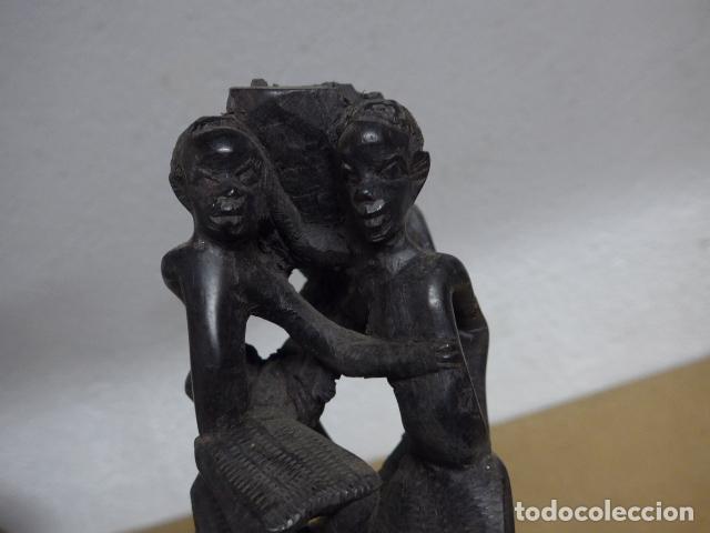 Arte: Antigua escultura figura de madera tallada africana, de tribu makonde, mozambique o tanzania - Foto 8 - 243269555