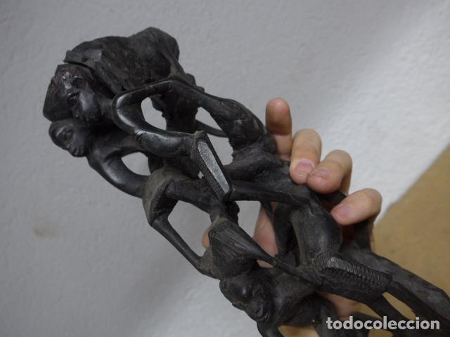 Arte: Antigua escultura figura de madera tallada africana, de tribu makonde, mozambique o tanzania - Foto 9 - 243269555