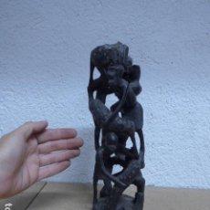 Arte: ANTIGUA ESCULTURA FIGURA DE MADERA TALLADA AFRICANA, DE TRIBU MAKONDE, MOZAMBIQUE O TANZANIA. Lote 243269555