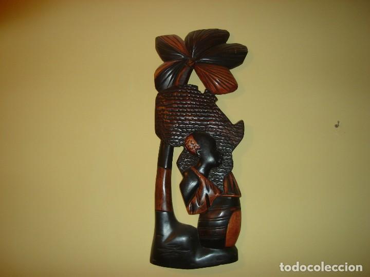 FIGURA MURAL AFRICANA EN MADERA NOBLE. (Arte - Étnico - África)