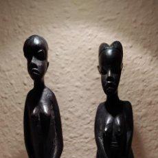 Arte: DOS FIGURAS MADERA DE ÉBANO AÑOS 60 GUINEA ECUATORIAL. Lote 244716570