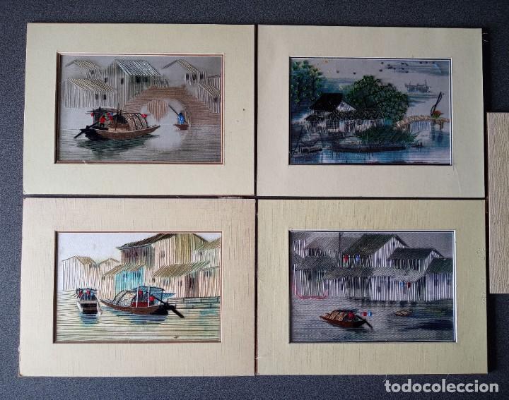 Arte: Lote cuadros pequeños paisajes china bordados en seda - Foto 2 - 245198275