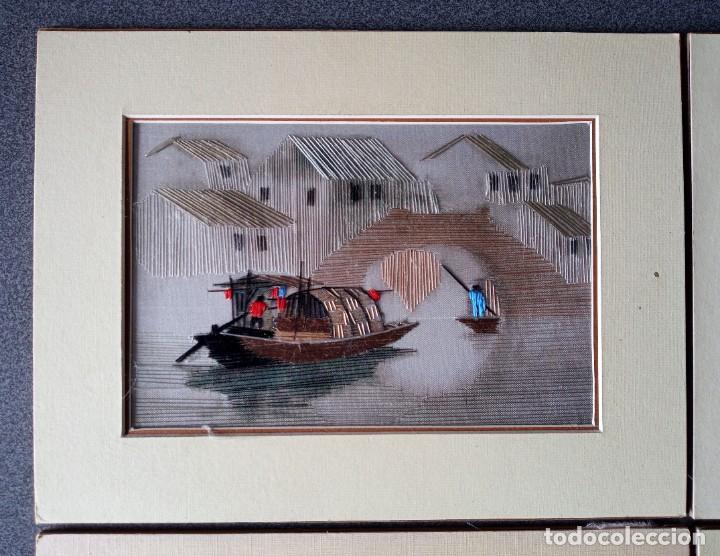 Arte: Lote cuadros pequeños paisajes china bordados en seda - Foto 3 - 245198275