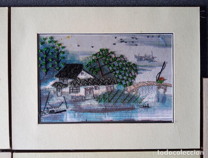 Arte: Lote cuadros pequeños paisajes china bordados en seda - Foto 4 - 245198275