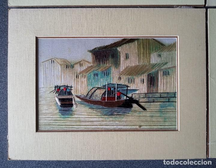 Arte: Lote cuadros pequeños paisajes china bordados en seda - Foto 5 - 245198275