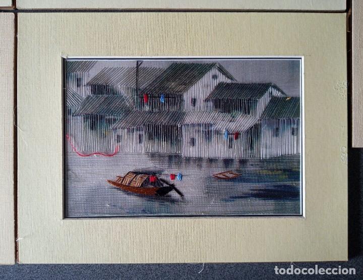 Arte: Lote cuadros pequeños paisajes china bordados en seda - Foto 6 - 245198275