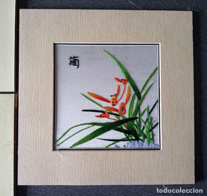 Arte: Lote cuadros pequeños paisajes china bordados en seda - Foto 7 - 245198275