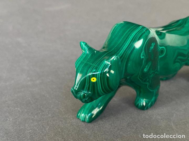 Arte: talla en malaquita de origen Africa , felino - Foto 3 - 245231415