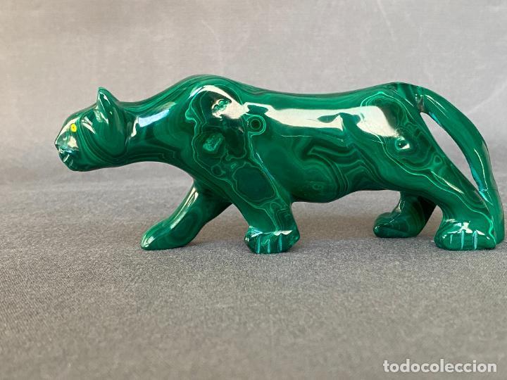 Arte: talla en malaquita de origen Africa , felino - Foto 4 - 245231415