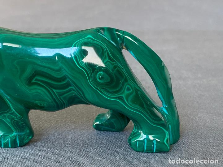 Arte: talla en malaquita de origen Africa , felino - Foto 9 - 245231415