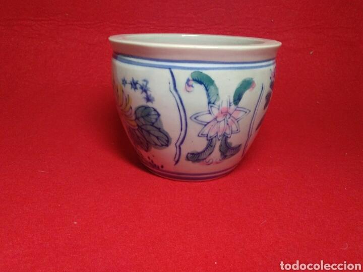 Arte: Antiguo cuenco chino ,de ceramica pintado a mano decoracion vegetal azul , - Foto 2 - 247416410
