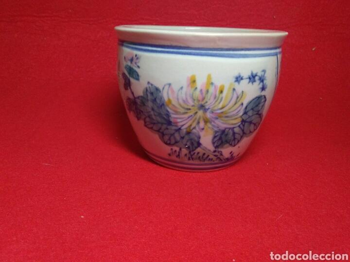 Arte: Antiguo cuenco chino ,de ceramica pintado a mano decoracion vegetal azul , - Foto 3 - 247416410
