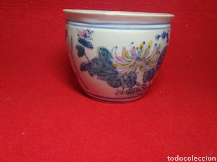 Arte: Antiguo cuenco chino ,de ceramica pintado a mano decoracion vegetal azul , - Foto 4 - 247416410