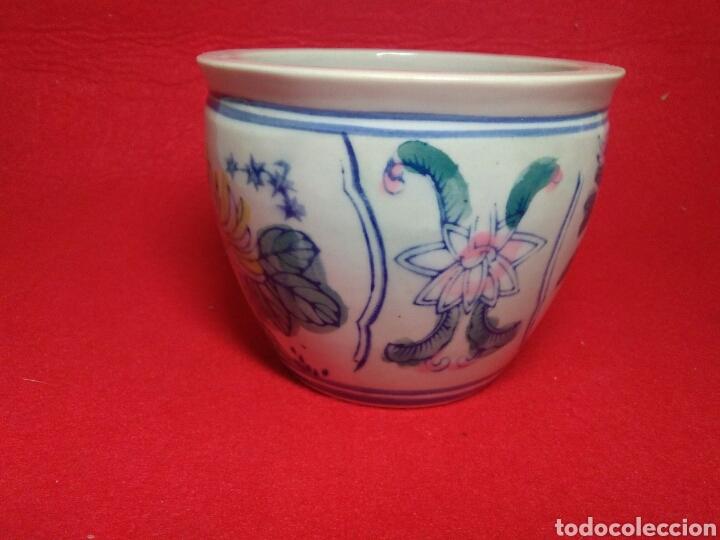 Arte: Antiguo cuenco chino ,de ceramica pintado a mano decoracion vegetal azul , - Foto 6 - 247416410