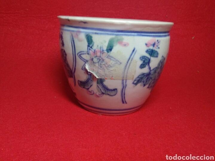 Arte: Antiguo cuenco chino ,de ceramica pintado a mano decoracion vegetal azul , - Foto 9 - 247416410