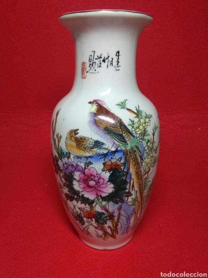Arte: ceramica jarron chino ,decorancion florar y animal ,caligrafia china ,sellos de ceramista - Foto 2 - 247419960