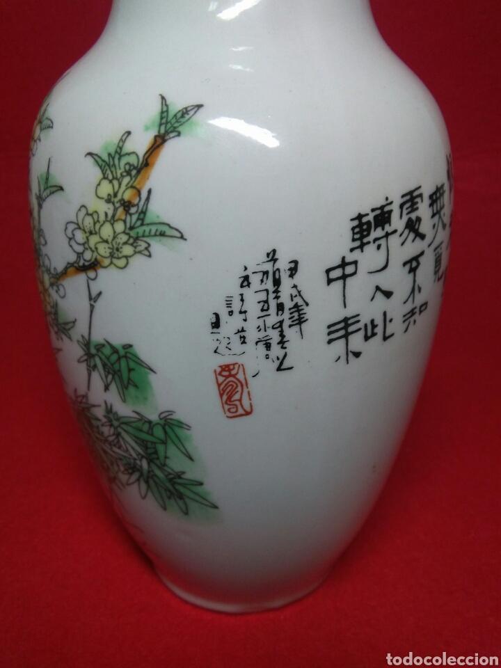 Arte: ceramica jarron chino ,decorancion florar y animal ,caligrafia china ,sellos de ceramista - Foto 5 - 247419960