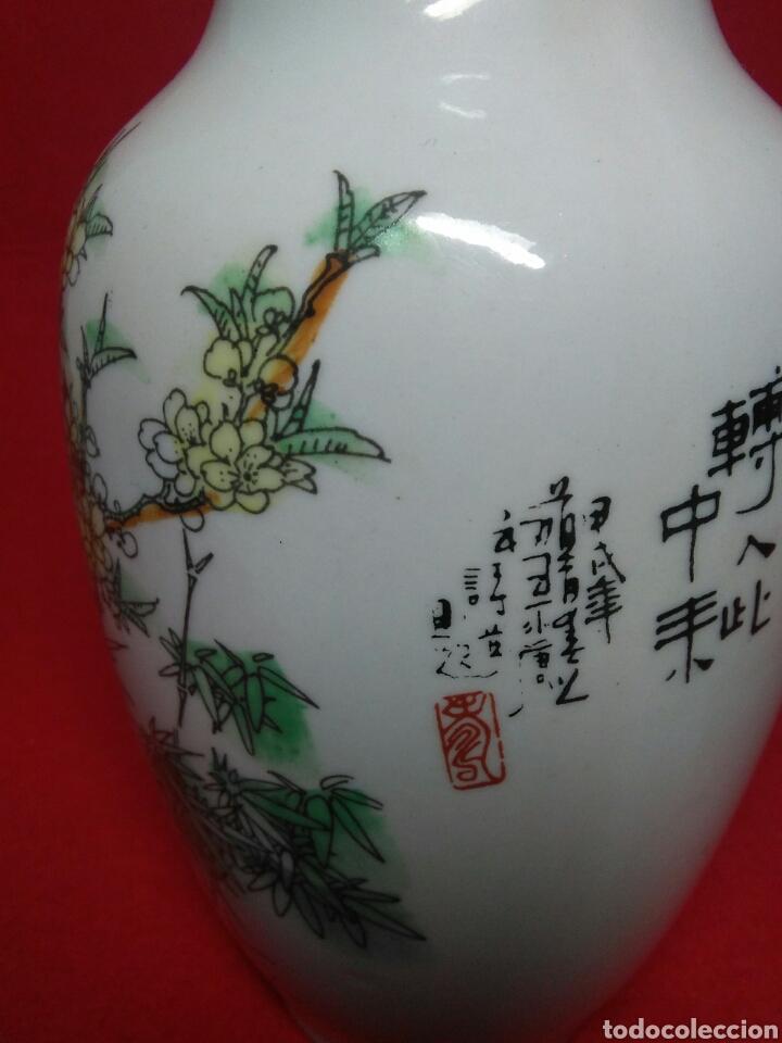 Arte: ceramica jarron chino ,decorancion florar y animal ,caligrafia china ,sellos de ceramista - Foto 6 - 247419960