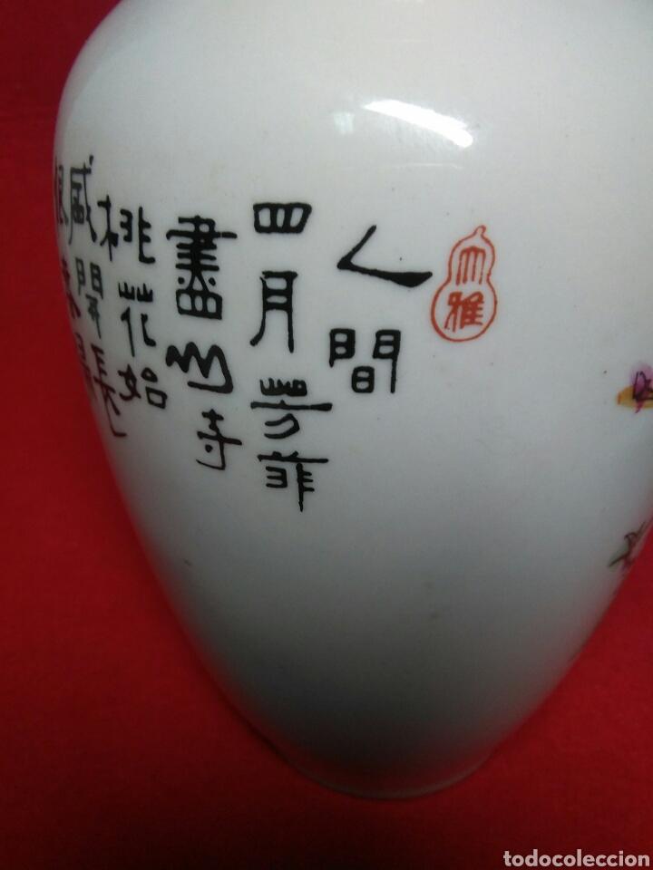 Arte: ceramica jarron chino ,decorancion florar y animal ,caligrafia china ,sellos de ceramista - Foto 7 - 247419960